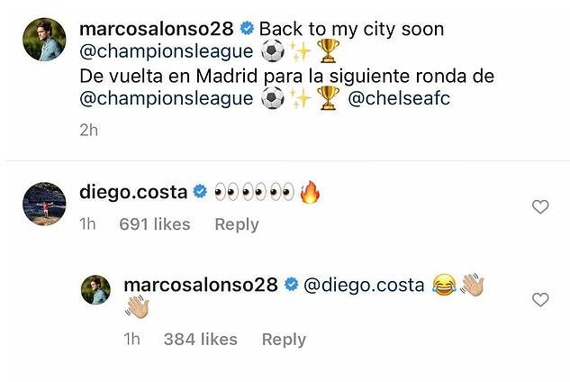 Diego Costa - reakcja na Chelsea w Lidze Mistrzów